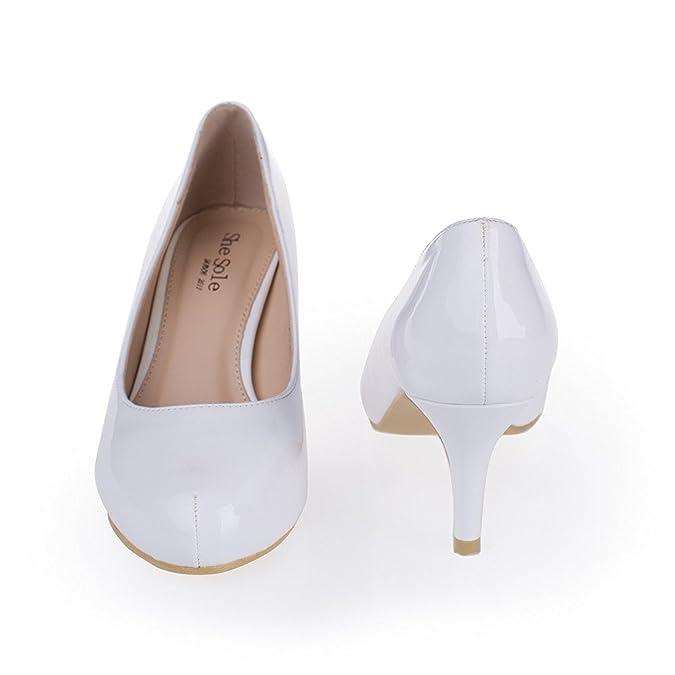 SheSole Women's Sexy Mid Heels Glitter PU Dress Pump: Amazon.co.uk: Shoes &  Bags