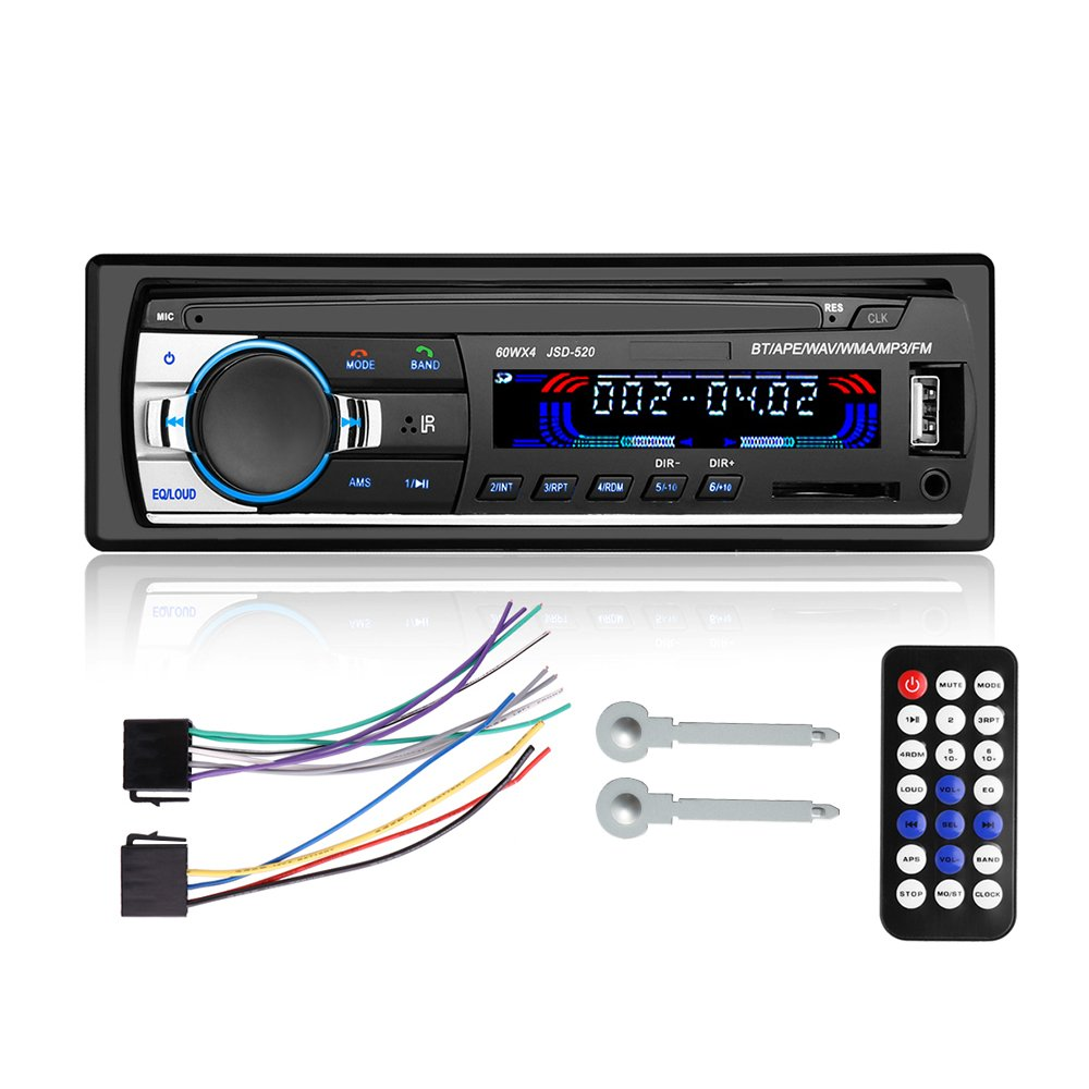 Car Stereo With Bluetooth,Single Din Car Audio Stereo Receiver Player,MP3/USB/SD/FM with Wireless Remote Control(NO CD/DVD Player)