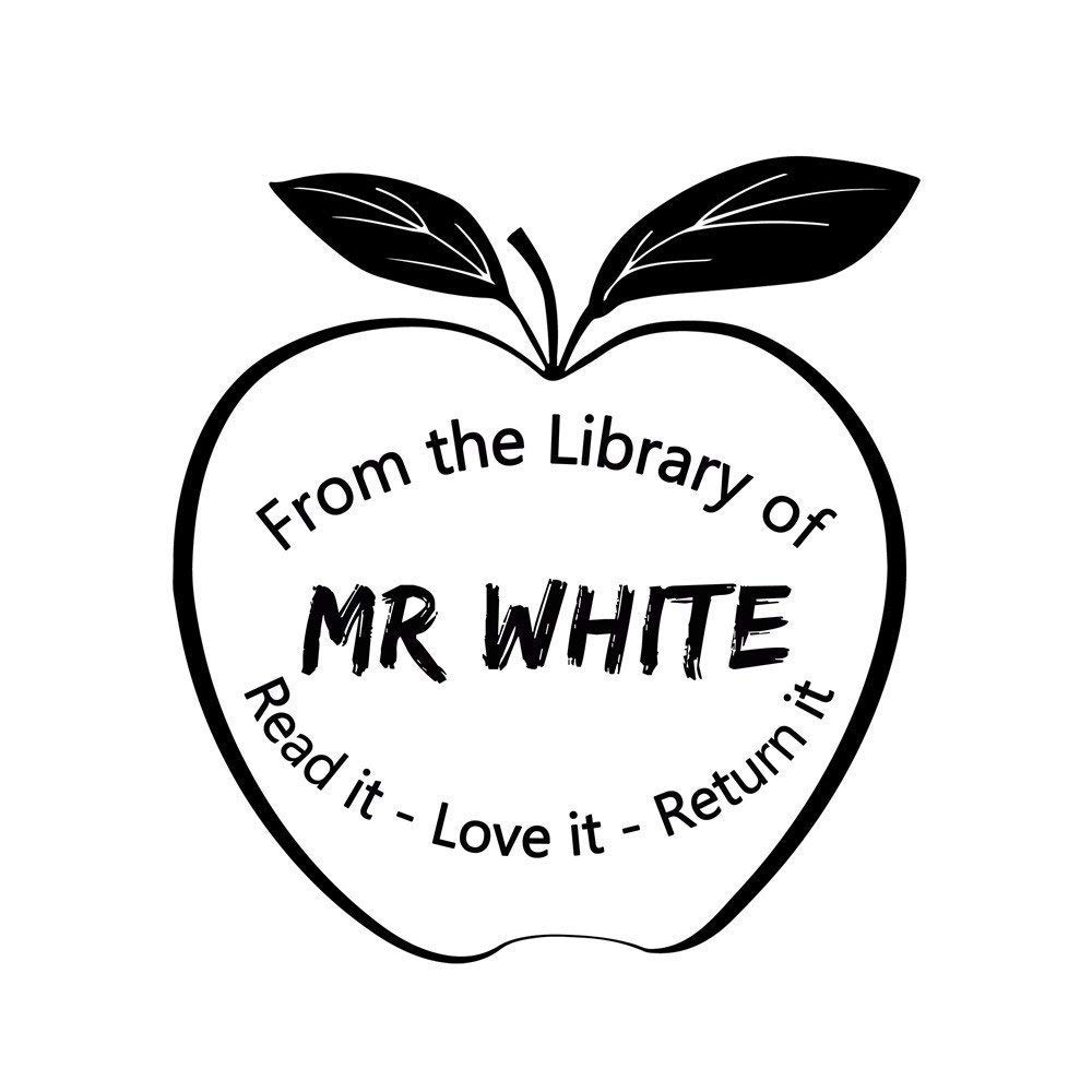Personalized Self Inking Return Flash Stamp Apple From the Library Classroom Book of Name Signature Read it Love it Return it Decorative Design Custom Teacher Stamper