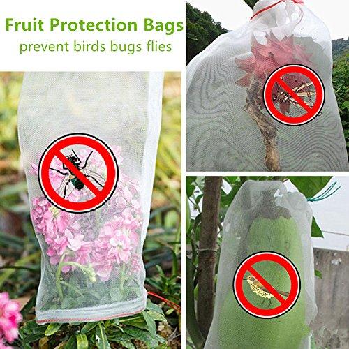 - BESTERY 30pcs Garden Reusable Nylon Fruit Plants Protection Netting Bags Prevent Birds Bugs Squirrels (12