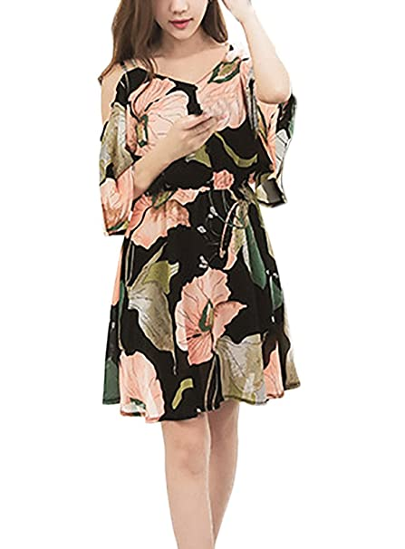 Vestido Playa Mujer Elegantes Vestidos Cortos Verano Spaghetti Manga Corta Sin Tirantes Mini Vestido Patrón De Flores Moda Elastische Taille Anchas Vestido ...