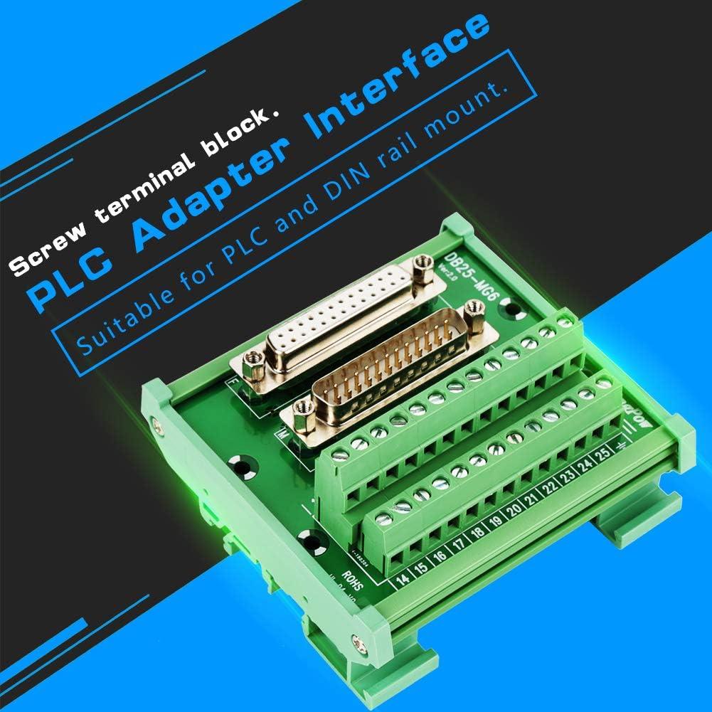 Yosooo DB25 D-Sub Male /& Female Header Breakout Board Terminal Board Block DIN Rail Mount Interface Module Connector