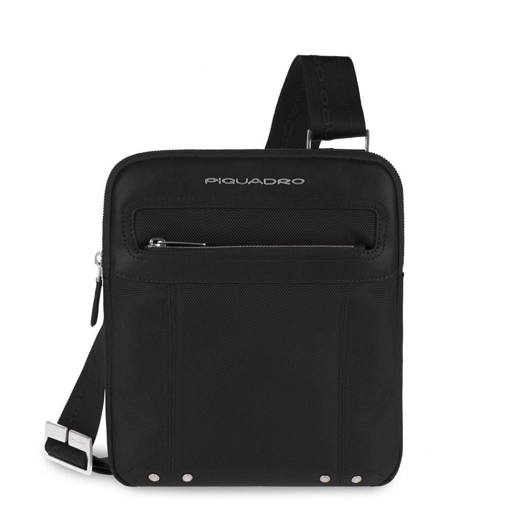 Piquadro Organized Across Body Pocket Bag Flat, Black, One Size