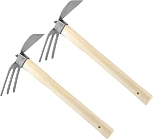 ZOENHOU 2PCS 2 in 1 Multi Purpose Hoe and Cultivator, Multifunctional Hand Tiller Garden Tools with Ergonomic Wooden Long Handle for Weeding Digging Loosening Soil