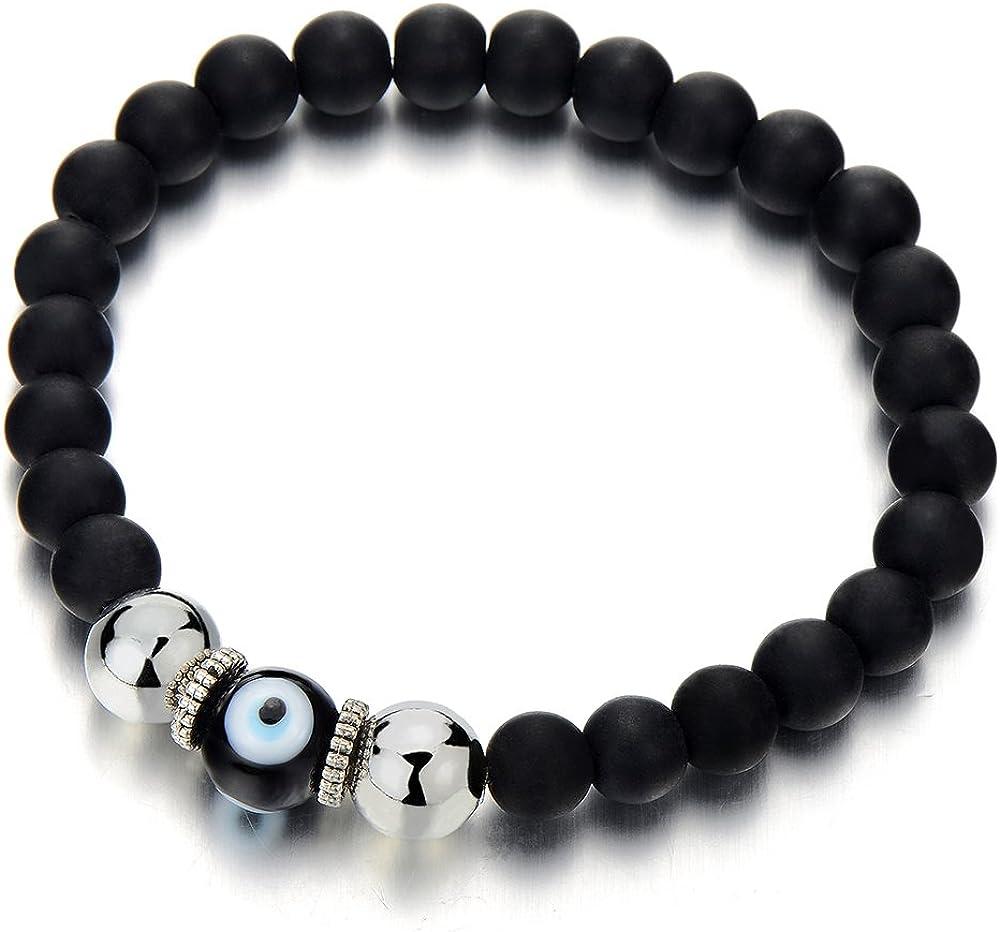 COOLSTEELANDBEYOND Mens Women Mat Black Bead Bracelet with Murano-Style Glass Evil Eye Bead, Protection Prayer Mala