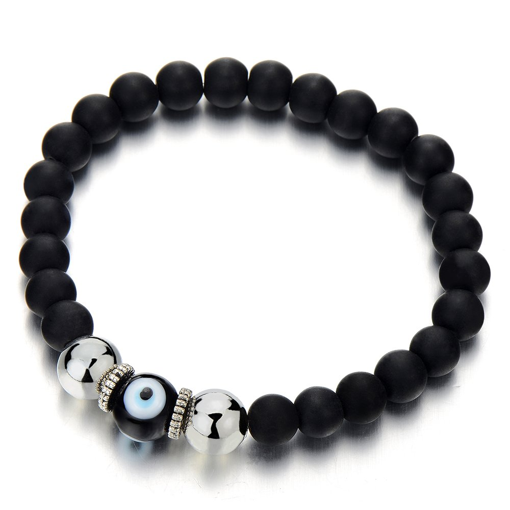 Mens Women Mat Black Bead Bracelet with Murano-style Glass Evil Eye Bead, Protection Prayer Mala COOLSTEELANDBEYOND MB-799