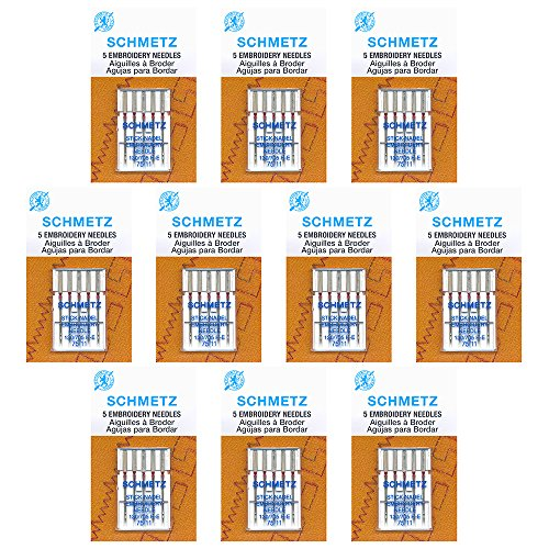 50 Schmetz Embroidery Sewing Machine Needles - size 75/11 - Box of 10 cards ()