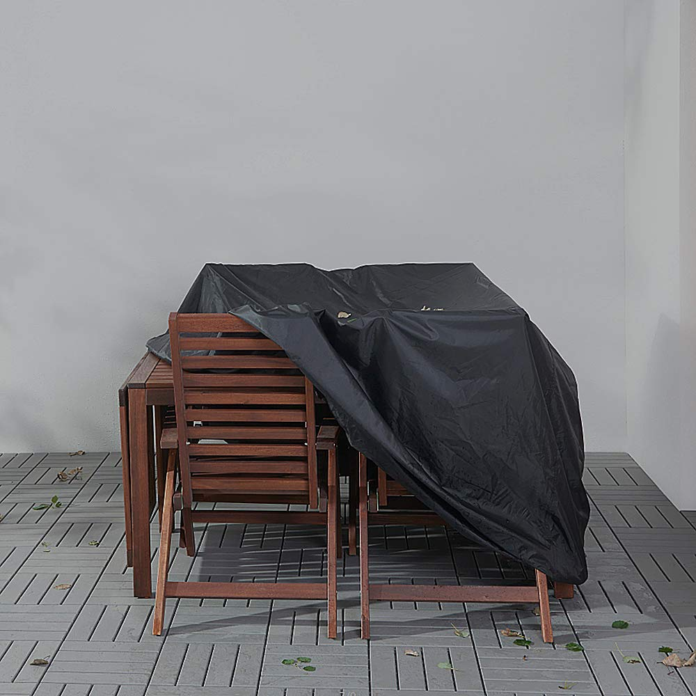 Telo di Copertura per mobili da Giardino Traspirante Nasharia Tessuto Oxford Impermeabile Colore Nero 180 x 120 x 74 cm
