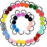 40 Pcs (20 Pairs) Pom Balls Elastic Hair Ties for Girls' Ponyatil Holder Accessories (Assorted Color)
