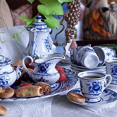 Gzhel Porcelain Coffee Set Mariya 16 Pc For 6 Persons