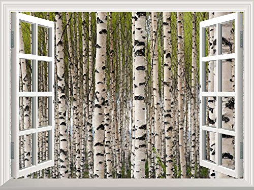 Removable Wall Sticker Wall Mural Grove of Birch Trees with Green Leaves in Spring Creative Window View Wall Decor