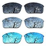 ToughAsNails Polarized Enhanced Replacement Lenses for Oakley Bottle Rocket Sunglass - Black & Silver Chrome & Ice Blue 3 Pair Combo Pack
