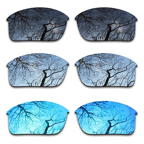 ToughAsNails Polarized Enhanced Replacement Lenses for Oakley Bottle Rocket Sunglass - Black & Silver Chrome & Ice Blue 3 Pair Combo Pack by ToughAsNails