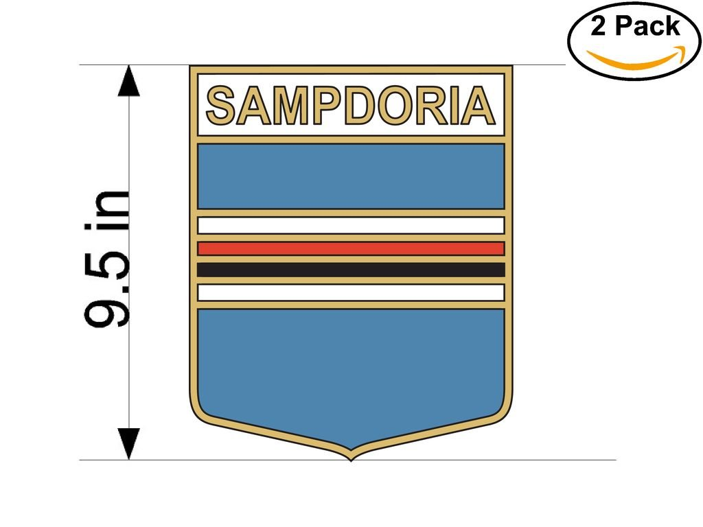 CanvasByLam Sampdoria Genoa Italy Soccer Football Club FC 2 Stickers Car Bumper Window Sticker Decal Huge 9.5 inches