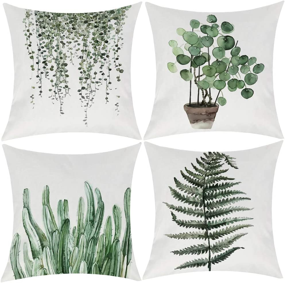 Wilproo Green Plants Throw Pillow Cover, Decorative Square Pillow Cover Cushion Cover Set of 4 Perfect Decor Gift for Families Friends Home Office Sofa Car Couch 18x18