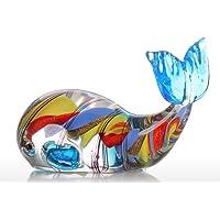 Tooarts Ornamento di Vetro Colorato Regalo di Balena Figurine Animale Handblown Decorazione Domestica Multicolore
