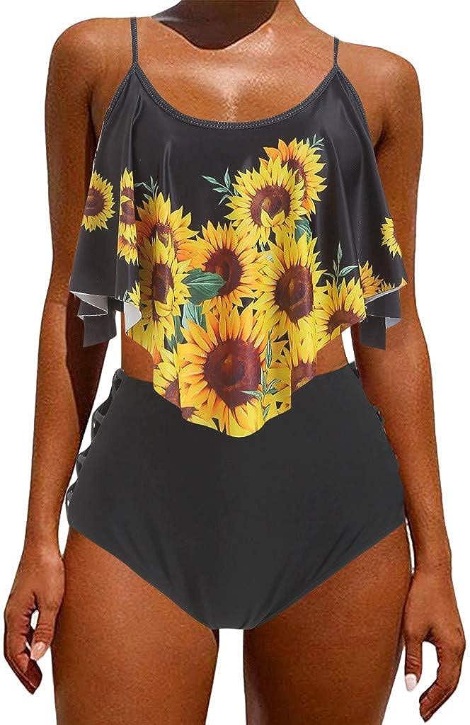 Pacrate Bikini Damen Set Geteilter Badeanzug R/üschen Zweiteilige Bademode mit Bikini High Waist Retro Hoher Taille Strandkleidung Bikinihose