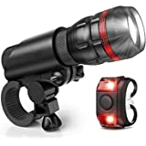 LED Bike Light Front and Rear Back Set, Bicycle Tail Reflector Lights, Rechargeable Clip On Headlight, Compatible with…