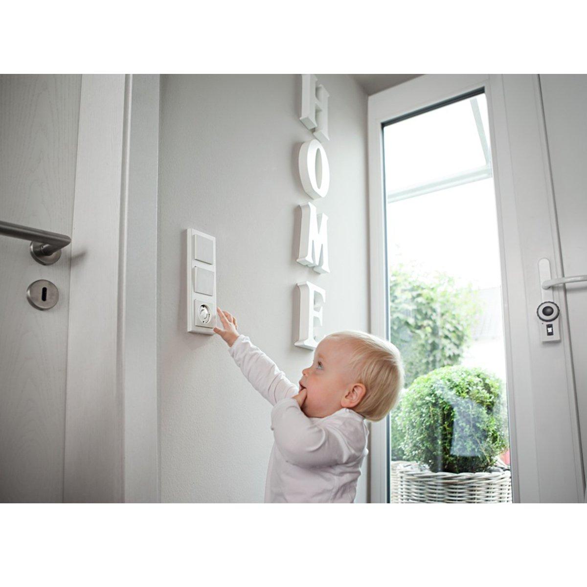 Steckdosensicherung f/ür Baby und Kinder Steckdosenschutz zum Kleben 20x Kindersicherung f/ür Steckdose mit Drehmechanik Future Founder