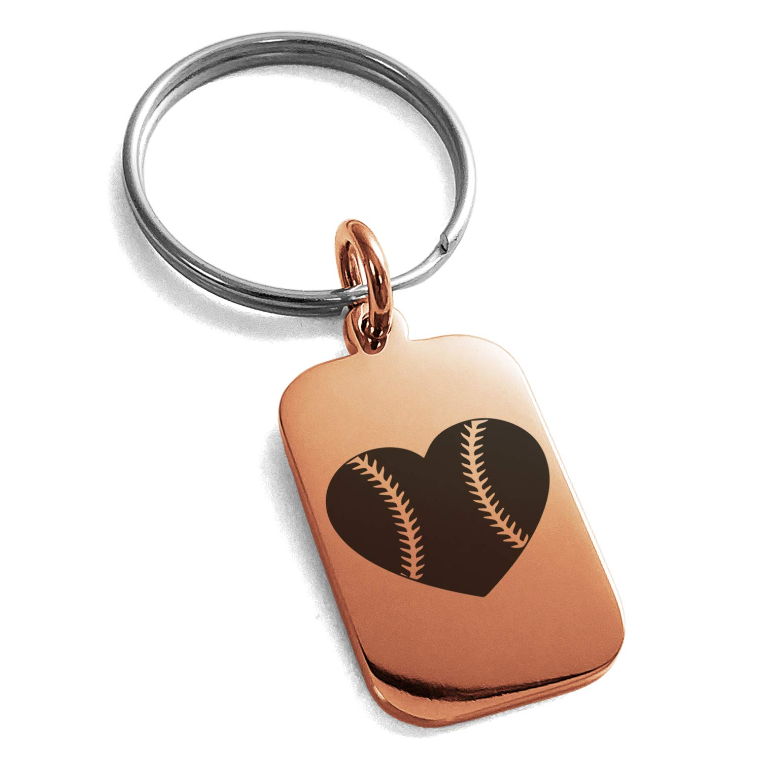 Tioneer Rose Gold Plated Stainless Steel Love Baseball Heart Engraved Small Rectangle Dog Tag Charm Keychain Keyring