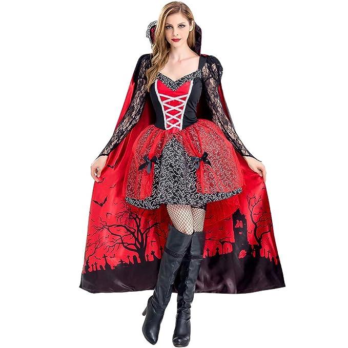 Halloween Costume Vampiro Travestimento - Vestito Cosplay Costumi Carnevale  da Strega Adulto Lungo Mantello Vampiressa Cosplay 0d4941a9053b