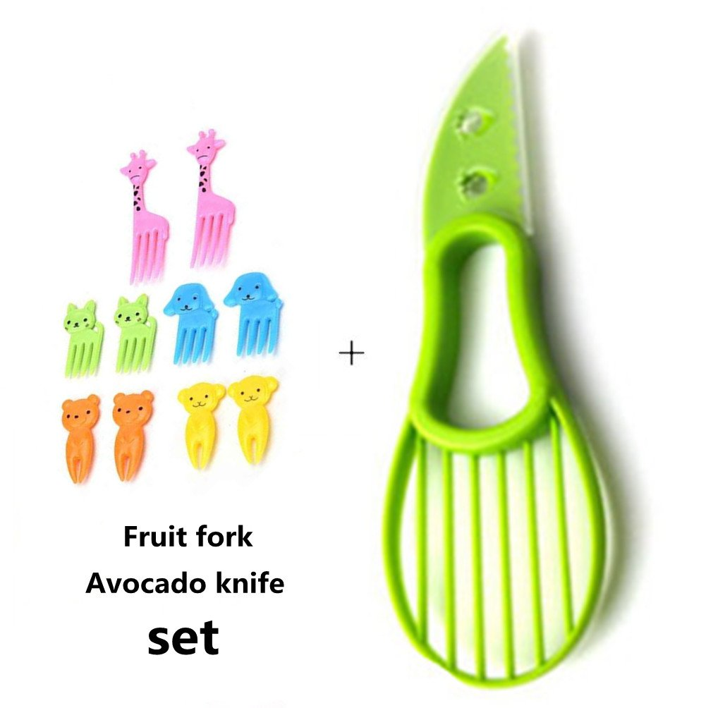 1 Pcs Avocado Slicer, And 10 Pcs Animal Food Fruit Fork