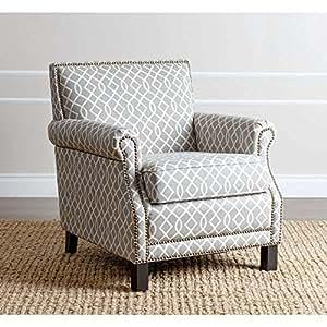 Accent Chairs Chair Living Room Black Finish Abbyson Living Chloe Grey Pattern