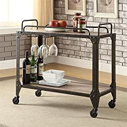 Acme Furniture ACME Caitlin Rustic Oak and Black Serving Cart