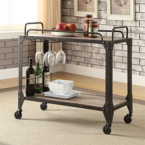 Acme Furniture ACME Caitlin Rustic Oak and Black Serving (Cart Cottage)