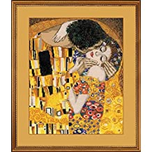 RIOLIS R1170 Counted Cross Stitch Kit, 11.75 by 13.75-Inch, The Kiss Klimt Painting