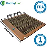 HealthyLine Infrared Heating Mat|Natural Jade & Tourmaline Stone 80'' x 76'' |​​​​​ ​Negative Ions (King) | Relieve Pain, Stress & Insomnia | FDA