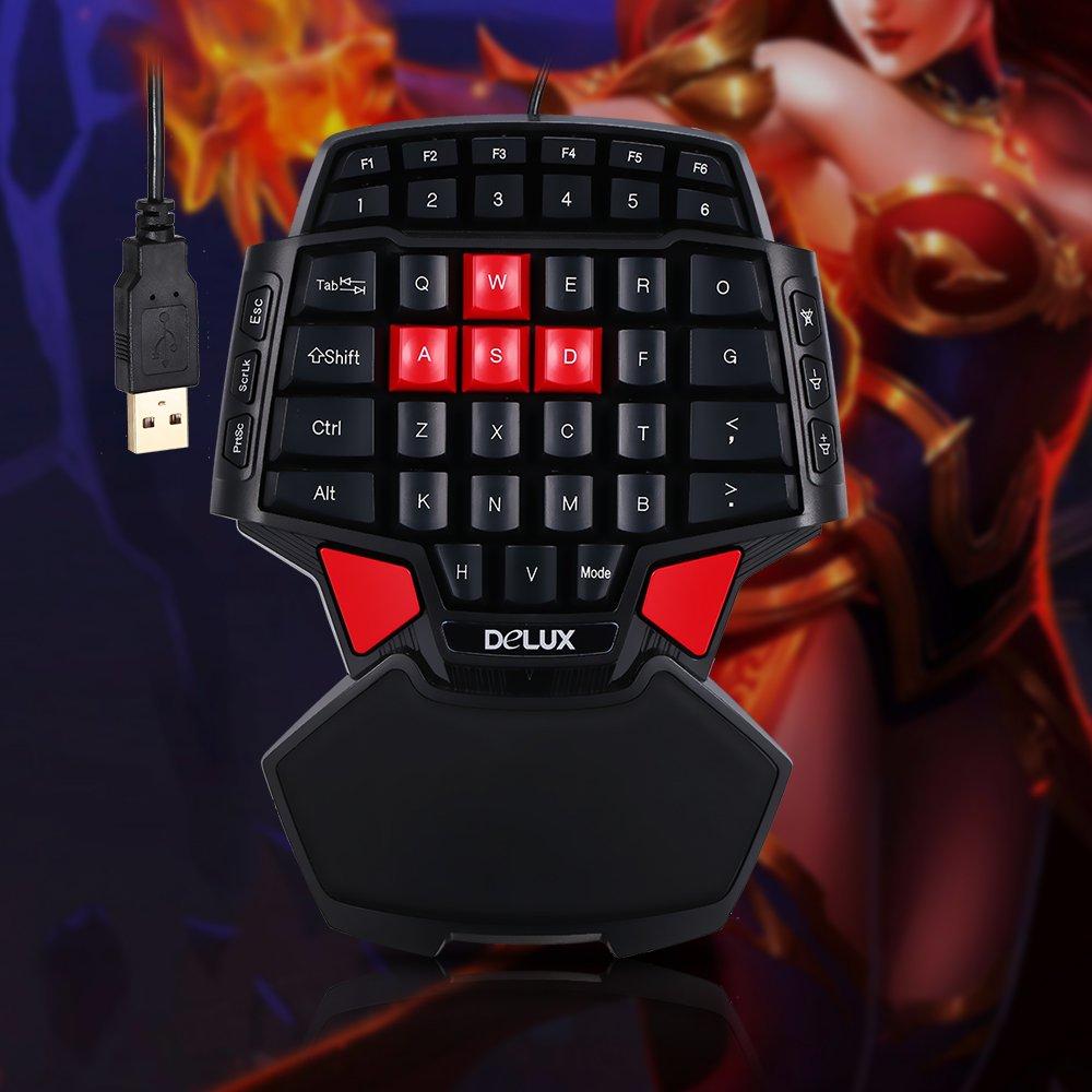 KKmoon Delux T9/teclado de juego USB con cable profesional teclado Esport a una mano 47/teclas con retroiluminaci/ón LED de 3/niveles