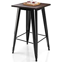 Dining Room Tidyard Bar Table Acacia Wood Round Pub Table Counter Height Wooden Bistro Table for Kitchen Diameter x H Cafe Indoor and Outdoor Furniture 23.6 x 41.3 Inches