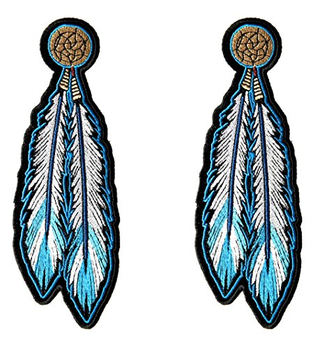 - Leather Supreme Pair of Native Indian Blue Dream Catcher Feathers Biker Patch-Blue-Medium
