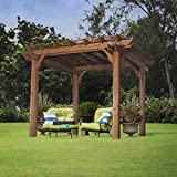 Beautiful Cedar Pergola Sculptured Beams Sturdy Cedar Upright Posts with Diagonal Braces Making a Strong Structure Unique Foot Covers Hide Anchors Patio Garden Home Outdoor Living Furniture Design