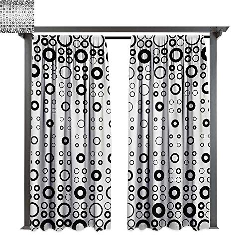 bybyhome Outdoor Waterproof Curtain Geometric Circle Simple Vortex Disc Shaped Interior Ellipse Chord Lines Artwork Print W120 xL96 Suitable for Front Porch,pergola,Cabana,Covered Patio]()