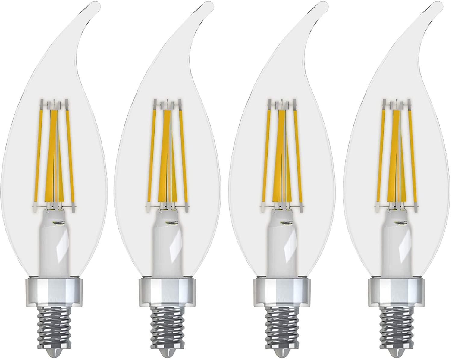 GE Lighting Decorative Outdoor Soft White LED 3.5-watt (40-watt Replacement), 300-Lumen Bent Tip Light Bulb with Candelabra Base, Clear Finish, 4-Pack