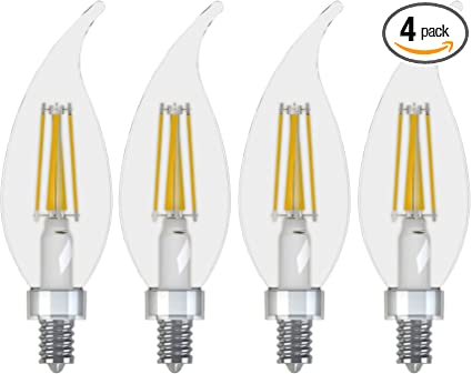 Ge Lighting 13330 Dimmable Decorative Soft White Led 6 5 60 Watt Replacement 500 Lumen Bent Tip Light Bulb With Candelabra Base 4 Pack Daylight