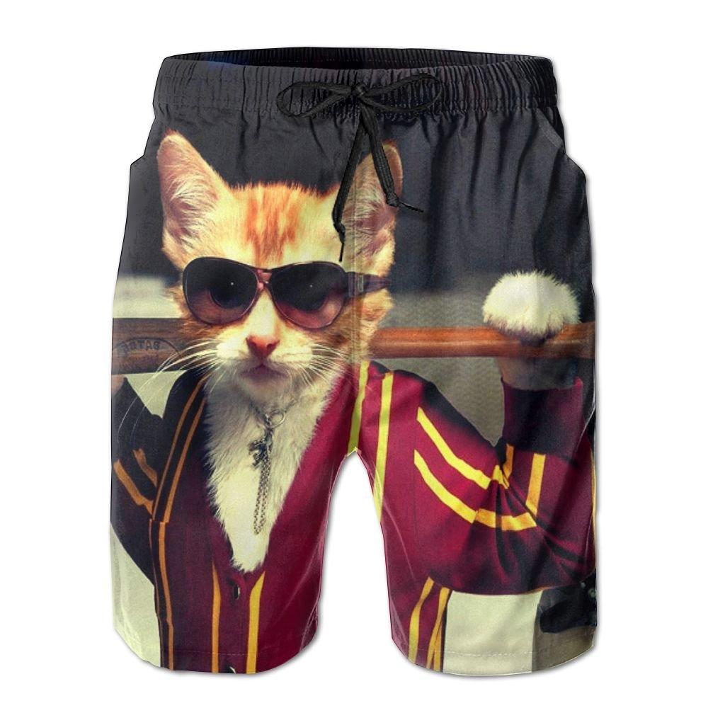 Cool Cat Baseball Newest Mens Swim Trunks Quick Dry Board Beach Shorts