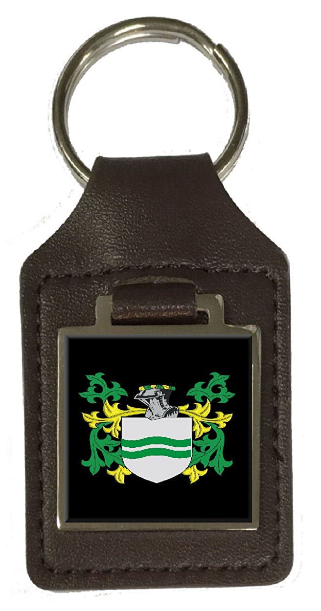Howerton Family Crest Surname Coat Of Arms Brown Leather Keyring Engraved
