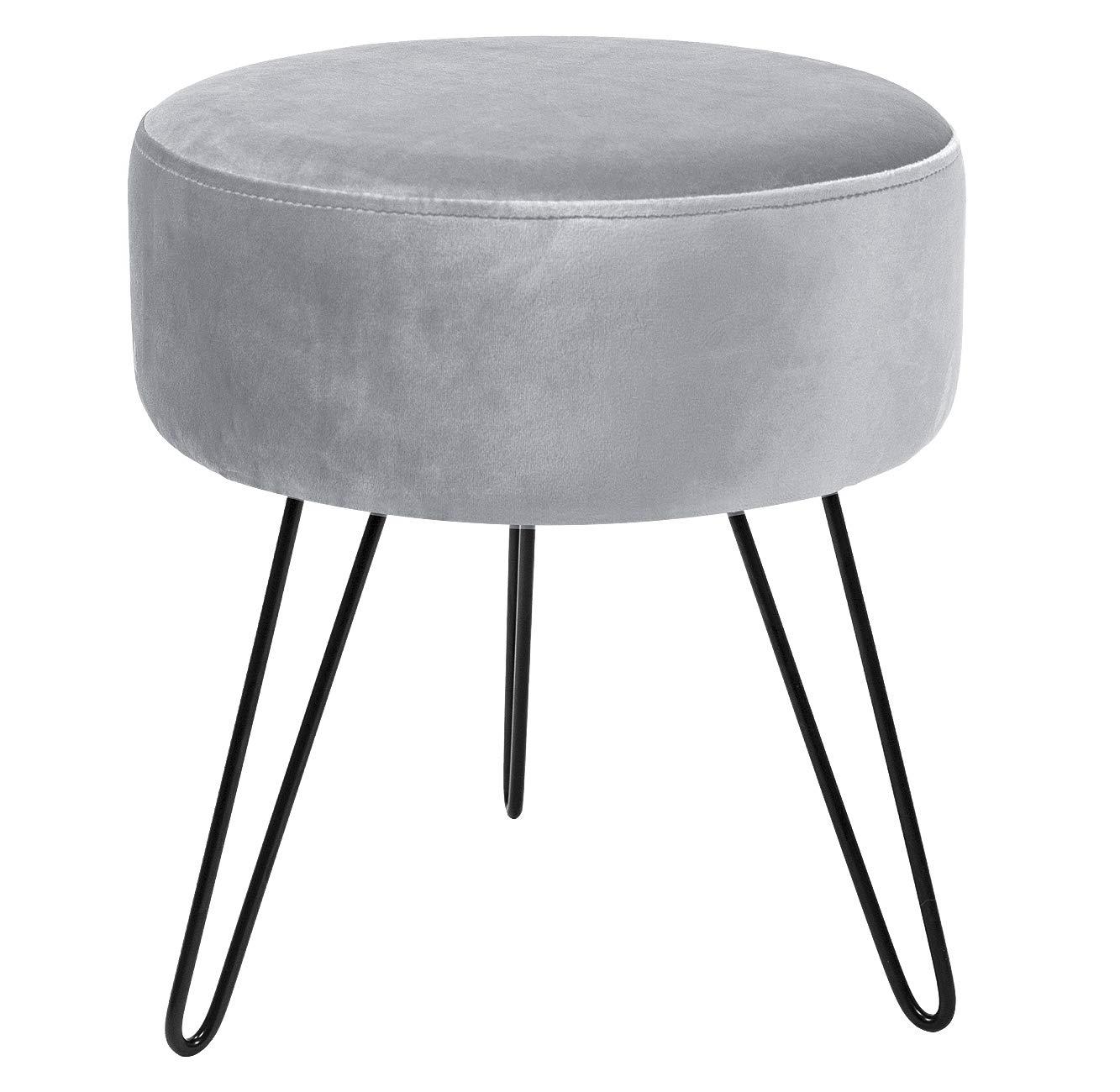 Sorbus Velvet Footrest Stool, Round Mid-Century Modern Luxe Velvet Ottoman, Footstool Side Table, Removable Metal Leg Design (Gray) by Sorbus