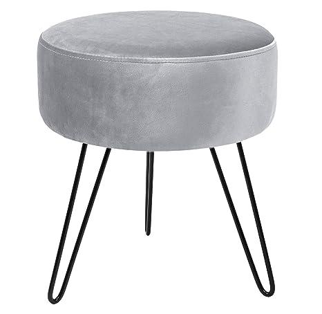 Outstanding Sorbus Velvet Footrest Stool Round Mid Century Modern Luxe Velvet Ottoman Footstool Side Table Removable Metal Leg Design Gray Gamerscity Chair Design For Home Gamerscityorg
