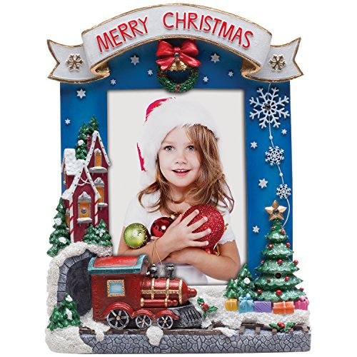 Fine Photo Gifts 4x6 Light Up Merry Christmas Train Picture Frame