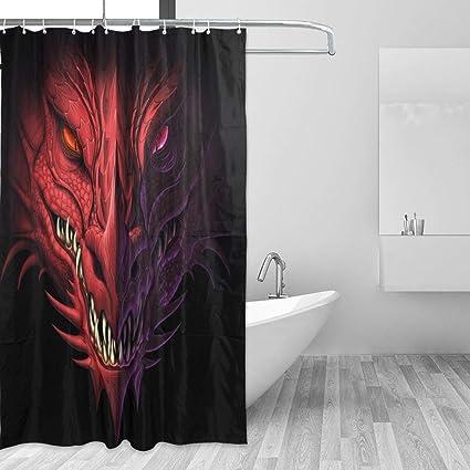 Amazon LUCASE LEMON ALEX Red Dragon Shower Curtain Set For Home