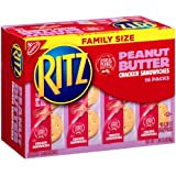 Nabisco, Ritz, Cracker Sandwiches with Peanut Butter, Family Size, 16 Count, 22.08oz Box (Pack of 3)