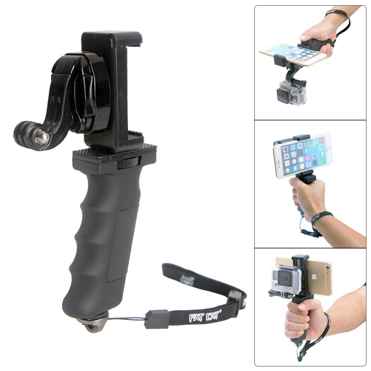 Ergonomic Action Camera Handle Grip Support w/ Smartphone Clip for GoPro Grip Holder Support for GoPro Hero 5 /4/3/Session Garmin Virb XE Xiaomi Yi SJCAM Hand Grip Mount Selfie Stick