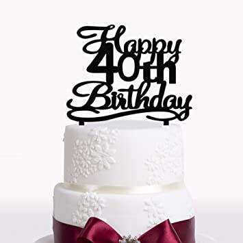 Happy 40th Birthday Cake Topper Black Acrylic Number 40 Forty Years Old Party Decoration