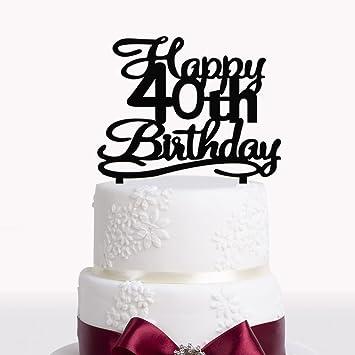 Amazon Happy 40th Birthday Cake Topper Black Acrylic