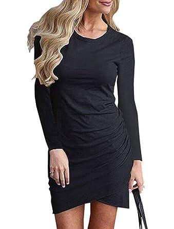 0b6c464af58 Halife Women s Casual Work Ruched Sexy Sheath Wrap Bodycon Pencil Mini T-Shirt  Dress Black