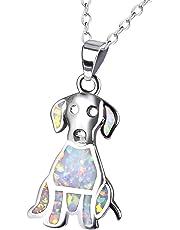 KELITCH Labrador Retriever Pendant Necklace Synthetic Opal Animal Choker Necklace Jewelry Gift
